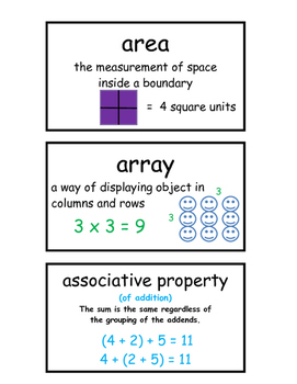 Grade 2 and 3 Math Vocabulary Cards Word Wall 70 Pages!