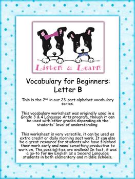 Grade 3 & 4 English - Vocabulary Worksheet - Letter B