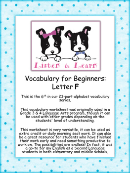 Grade 3 & 4 English - Vocabulary Worksheet - Letter F