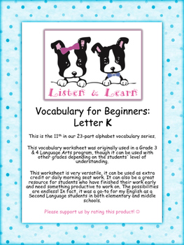 Grade 3 & 4 English - Vocabulary Worksheet - Letter K