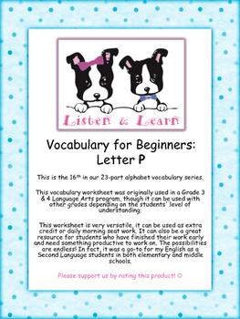 Grade 3 & 4 English - Vocabulary Worksheet - Letter P