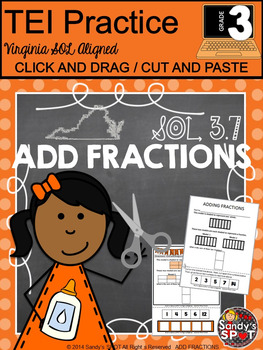 Grade 3 ADD FRACTIONS Cut and Paste VIRGINA SOL TEST PREP