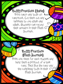 Grade 3 Buggy for Fractions {Math Task Cards}
