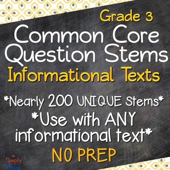 Reading: Informational Text RI Grade 3 Question Stems USE