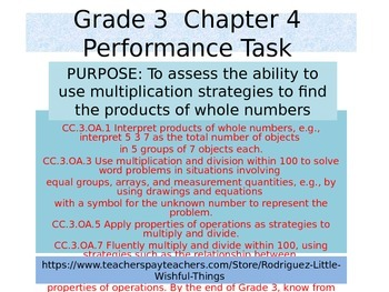 Third Grade Chapter 4 Math Performance task