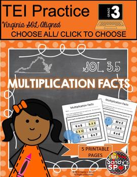 Grade 3 Multiplication Facts Virginia SOL TEST PREP