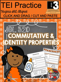 Grade 3 Commutative and Identity Properties Cut and Paste