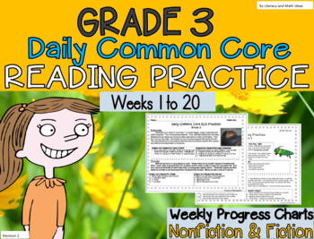 Grade 3 Daily Common Core Reading Practice Weeks 1-20 {LMI}