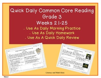 Grade 3 Daily Common Core Reading Practice Weeks 21-25 {LMI}