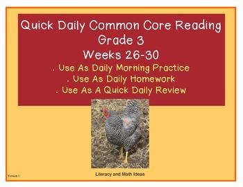 Grade 3 Daily Common Core Reading Practice Weeks 26-30 {LMI}
