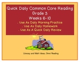 Grade 3 Daily Common Core Reading Practice Weeks 6-10 {LMI}