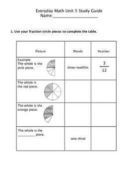 Grade 3 Everyday Math (2015) Unit 5: Mult/Fractions Study