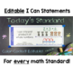 Common Core Standards I Can Statements for 3rd Grade Math