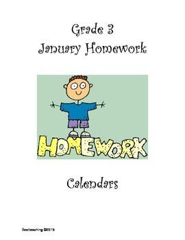 Grade 3 JanuaryHomework Calendar