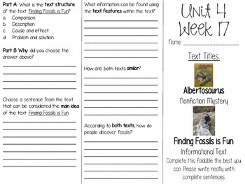 Grade 3 Journeys Unit 4 Week 17 Tri-fold