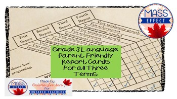 Grade 3 Language Ontario Report Card Comments - All TERMS