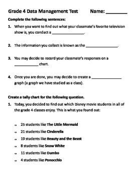 Grade 4 Math Test: Data Management - Pictograph, Bar Graph