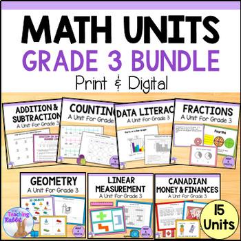 Grade 3 Math Units GROWING BUNDLE (Ontario Curriculum)