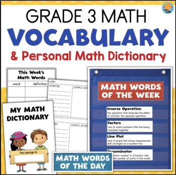 Grade 3 Math Vocabulary & Personal Math Dictionary