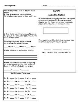 Grade 3 NY Engage/Eureka Math Module 1 Morning Work/ Assig