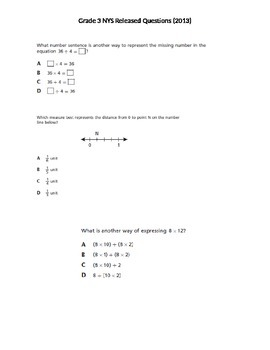 Grade 3 NYS Released Math Questions 2013