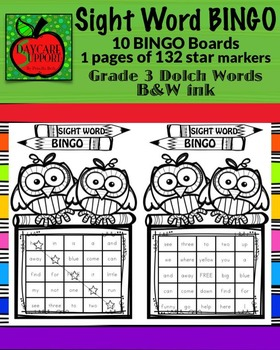 Grade 3 Sight Word BINGO B&W ink (Daycare Support by Prisc