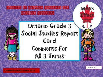 Grade 3 Social Studies Report Card Comments, ALL 3 TERMS!