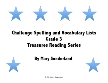 Grade 3 Treasures Challenge Word Lists