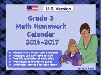 Grade 3 U.S. Math Homework Calendar - 2016-2017 - (Common