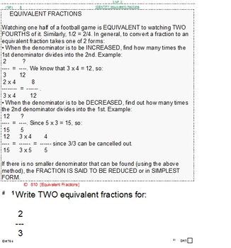 Grade 3 FRACTIONS UNIT 2: [Equivalent] (4 worksheets & 6 quizzes)