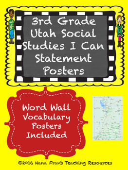 Grade 3 Utah Social Studes I Can Statement Posters and Wor