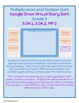 Grade 3 Virtual Story Problem Sort for Google Chrome - 3.OA.1,2