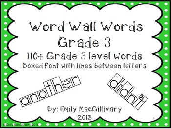 Grade 3 Word Wall: Boxed Font with Line between Letters (1