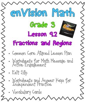Grade 3 enVision Math: Lesson 9-2 Fractions and Regions