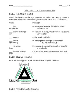Grade 4/5 Light, Sound and Matter Unit Test-Ontario Curriculum!
