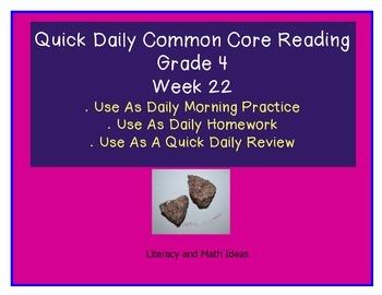 Grade 4 Daily Common Core Reading Practice Week 22 {LMI}