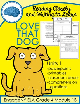 Love That Dog 4th Grade EngageNY Module 1B Unit 1 All Lessons