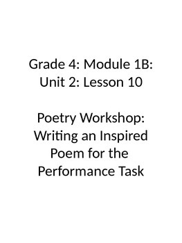 Grade 4 Expeditionary Learning Unit 1 B, Module 2, Lessons