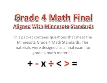 4th Grade - Math Final With Minnesota Standards