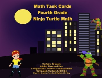 Grade 4 Math Task Cards-2-3 Digits With 3 Numbers Column A