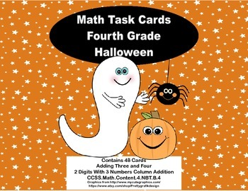 Grade 4 Math Task Cards-2 Digits With 3 Numbers Column Add
