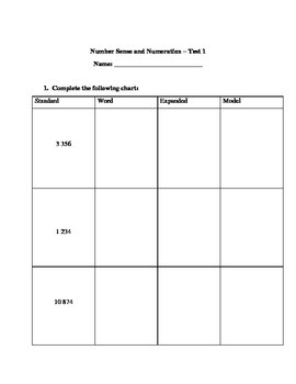 Grade 4 Math Test: Standard, Expanded, Word, Model; Money;