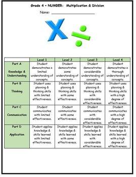 Grade 4 Multiplication & Division Assessment