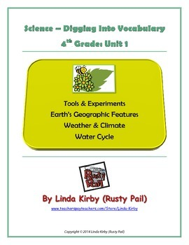 Science Grade 4 Digging into Vocabulary, Unit 1