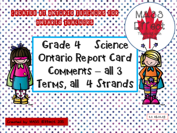 Grade 4 Science Report Card Comments, ALL 3 TERMS! - Ontar
