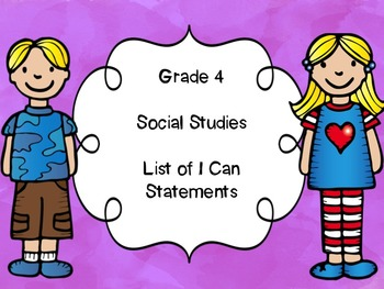 Grade 4 Social Studies I Can Statements List