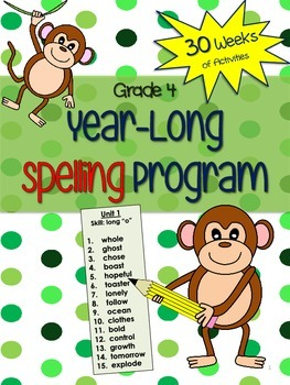 Grade 4 Spelling Program - 30 weeks of word lists and activities