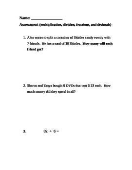 FREE-Grade 4 multiplication, division, fractions, decimals