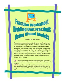 Grade 5 & 6 Divide By Unit Fractions Using Visual Models -