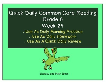 Grade 5 Daily Common Core Reading Practice Week 24 {LMI}